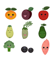 Cartoon fruits and vegetables vector image