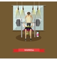 Bench press using a barbell Man working out in vector image