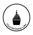 First birthday cake icon vector image