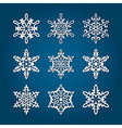 9 White Snowflakes vector image vector image