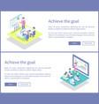 achieve goal plans set posters vector image vector image