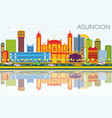 asuncion paraguay city skyline with color vector image vector image