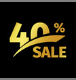 black banner discount purchase 40 percent sale vector image vector image