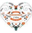 Christmas design heart with birds elements ribbons vector image