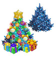 christmas sketch with brightly decorated holiday vector image vector image
