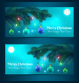 christmas tree banners vector image vector image