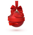 christmas tree decoration with red bow and ribbon vector image vector image