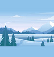 christmas winter landscape with pine tree frozen vector image vector image