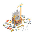 construction multistory building concept 3d vector image