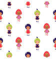 costumed kids cartoon seamless pattern vector image
