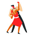 couple dancing tango and performing on dancefloor vector image