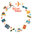 Couple run with Travel Objects Icons Round Frame vector image vector image