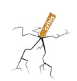 crack with wooden sign for crisis vector image