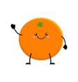 cute cartoon orange kawai orange vector image