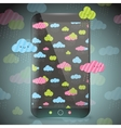 Cute doodle rainy clouds pattern on smart phone vector image