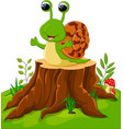 cute snail isolated on tree stump vector image vector image
