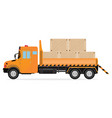 delivery trucks with wooden boxes vector image
