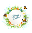 Easter banner with easter eggs and daisies vector image