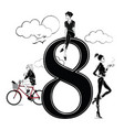 fashion girls in sketch style with number eight vector image