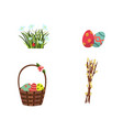 flat easter symbols icon set vector image vector image