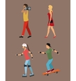 four person walking roller skating music vector image