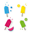 fruit popsicles ice cream set isolated with fruits vector image