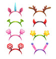 funny cartoon headbands with horns and ears vector image