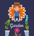 gardener in flower potted plants garden concept vector image