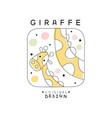 giraffe logo template original design cute animal vector image vector image