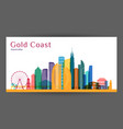 gold coast city architecture silhouette colorful vector image vector image