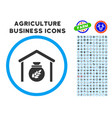 grain storage rounded icon with set vector image vector image