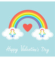 Happy Valentines Day Red heart Love card Rainbow vector image