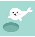 Ice-hole Harp baby seal pup Cute cartoon vector image vector image