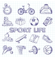 Icon set fitness hand drawn style vector image vector image