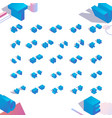 isometric 3d english alphabet abc blue letters vector image
