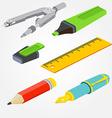 Isometric pair of compasses fountain pen pencil vector image vector image
