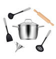 kitchen objects realistic items for cooking food vector image