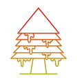 line merry christmas pine tree with ice vector image