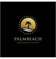palm tree and golden sunset color logo design vector image