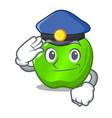 police cartoon of big shiny green apple vector image vector image