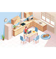 remote worker at kitchen doing work woman child vector image