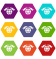 safe planet icons set 9 vector image vector image