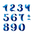 Set of isolated blue color shiny ribbon numbers on vector image