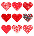 set of red hearts icons vector image