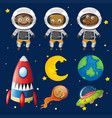 set of space animals element vector image