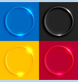 shiny glass round buttons set vector image