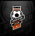 soccer club logo on a dark background vector image vector image