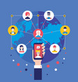 social network concept businessman hand with vector image vector image