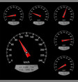 speedometer scales on black background vector image vector image