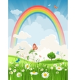 Summer day with rainbow vector image vector image